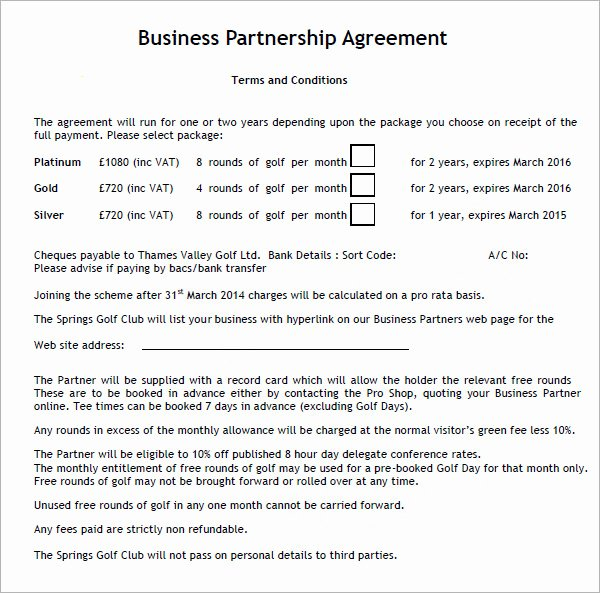Partnership Agreement Template Pdf Awesome Business Partnership Agreement 9 Download Documents In