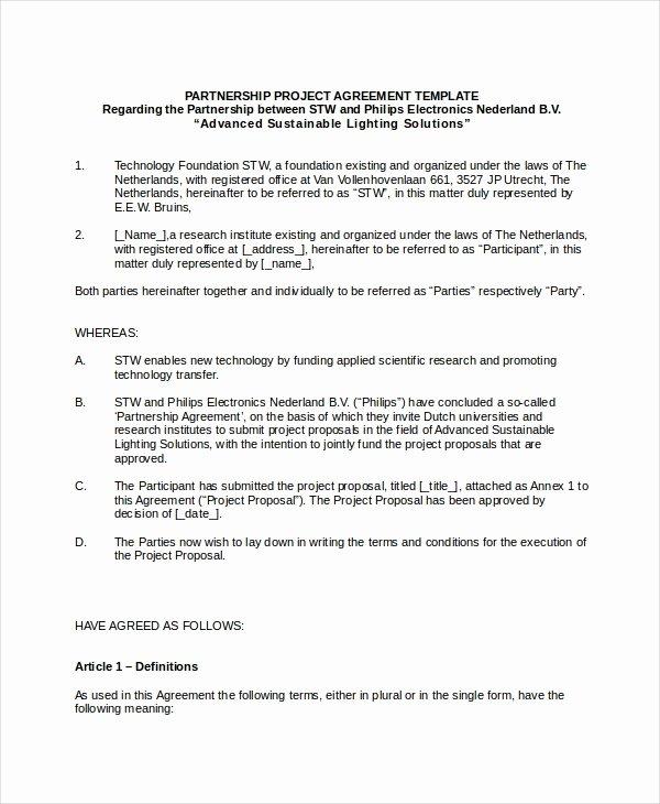 Partnership Agreement Template Pdf Fresh Business Partnership Agreement 8 Free Pdf Word