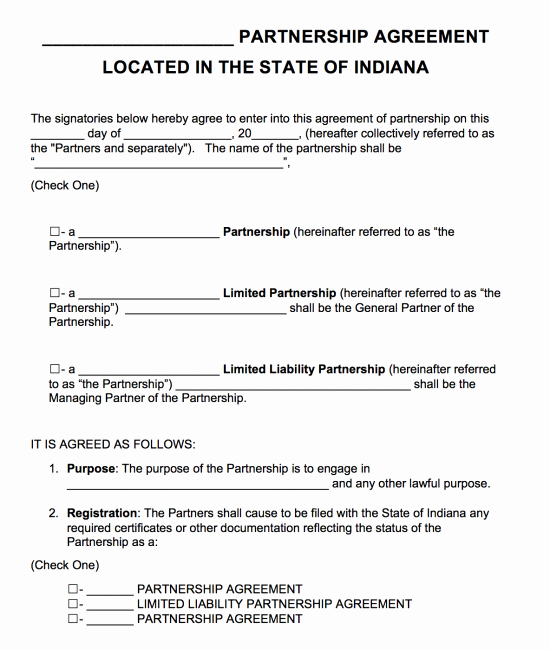 Partnership Agreement Template Pdf Fresh Free Indiana Partnership Agreement Template Pdf