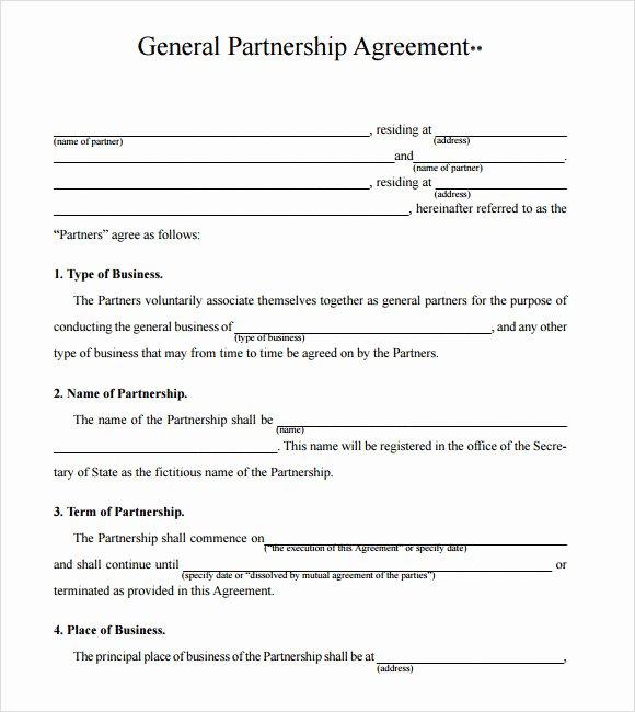 Partnership Agreement Template Pdf Inspirational 10 Sample Business Partnership Agreements