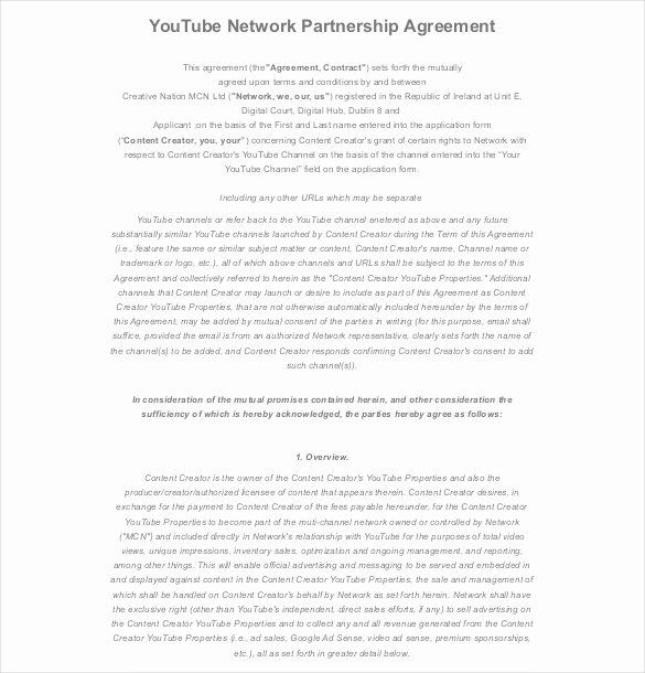 Partnership Agreement Template Pdf Lovely 18 Partnership Agreement Templates – Free Sample Example