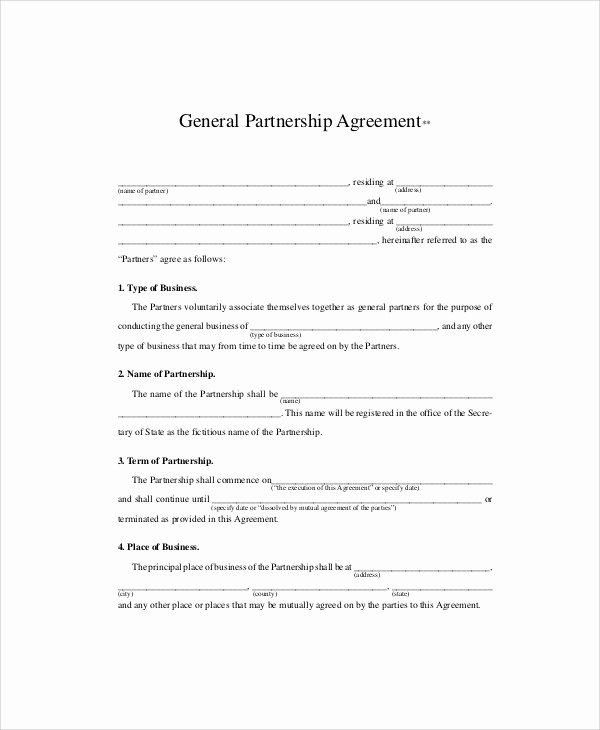 Partnership Agreement Template Pdf New 10 Sample Business Partnership Agreements In Pdf