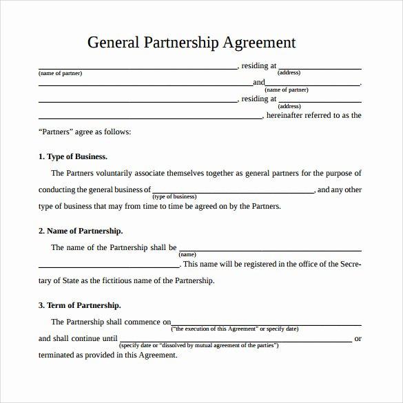 Partnership Agreement Template Pdf Unique 12 Sample General Partnership Agreement Templates