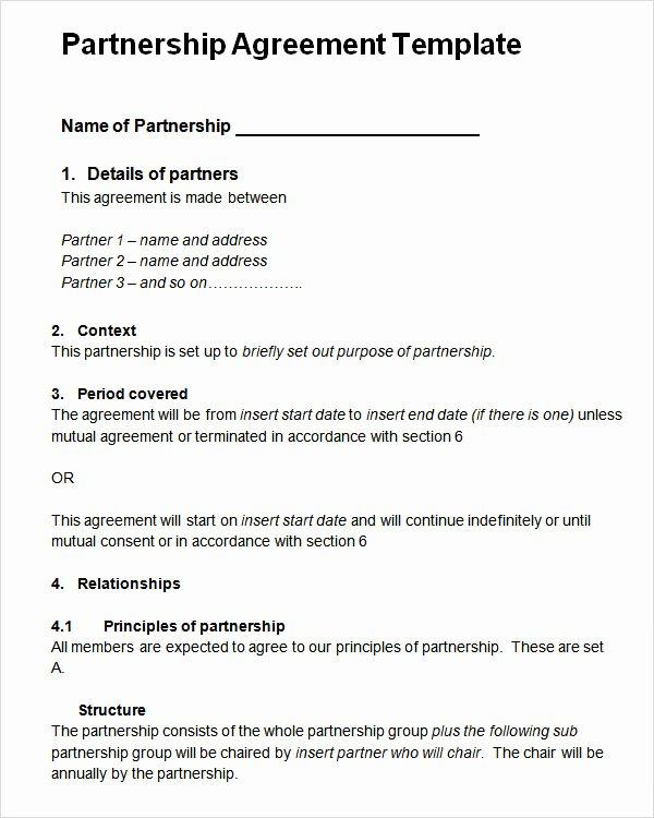 Partnership Agreement Template Pdf Unique Sample Partnership Agreement 13 Free Documents Download