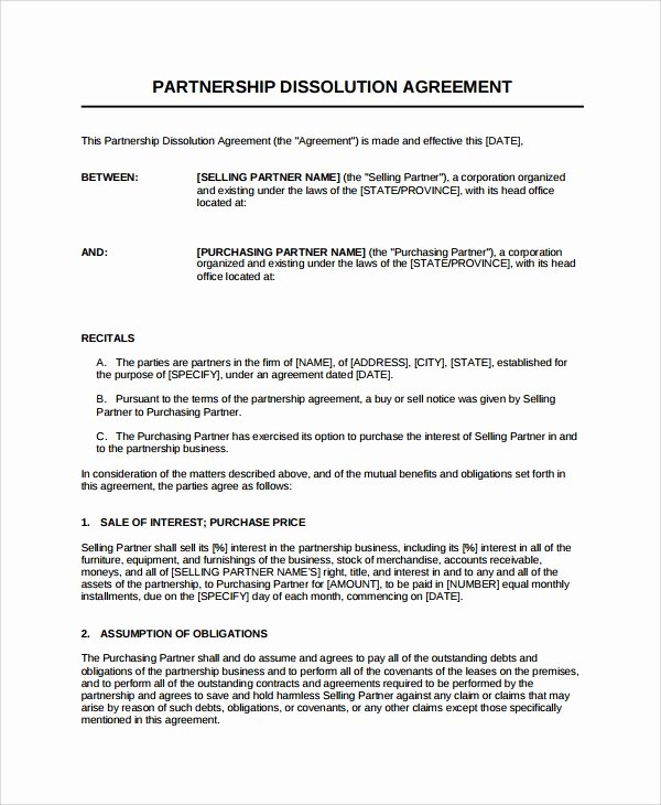 Partnership Agreement Template Pdf Unique Sample Partnership Dissolution Agreement Templates 7