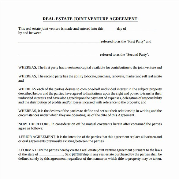 Partnership Agreement Template Word Best Of Sample Real Estate Partnership Agreement 10 Free
