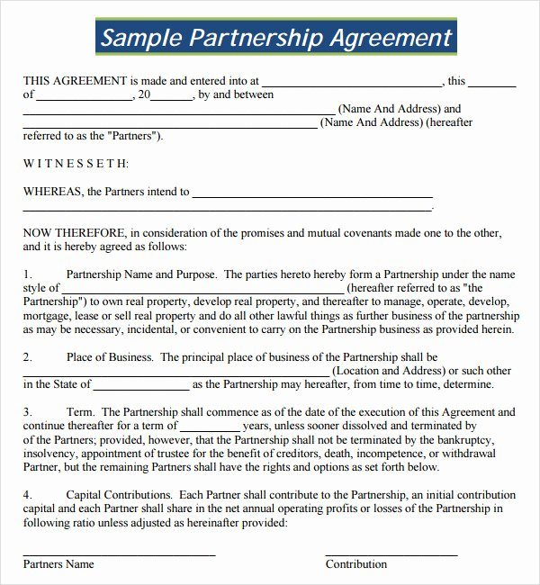 Partnership Agreement Template Word Elegant 16 Partnership Agreement Templates