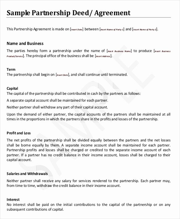 Partnership Agreement Template Word Elegant 8 Agreement Templates & Samples Word Pdf