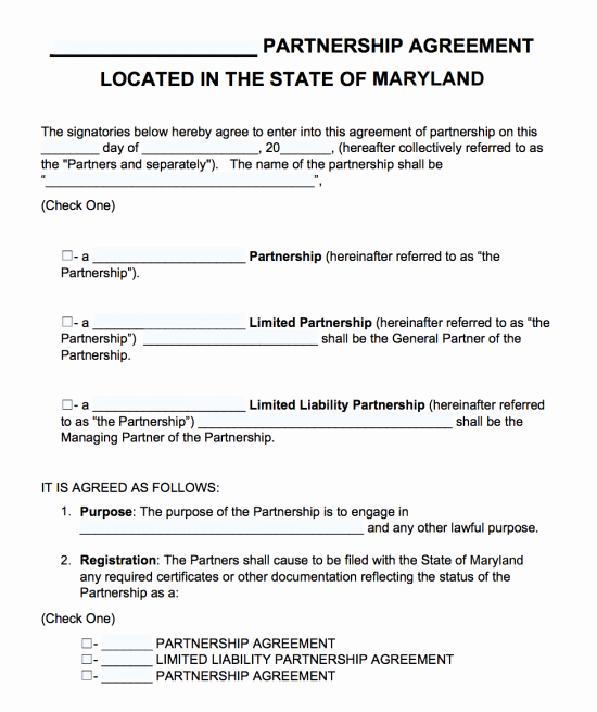 Partnership Agreement Template Word Fresh Free Maryland Partnership Agreement Template Pdf