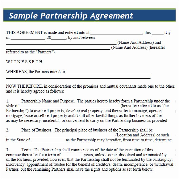 Partnership Agreement Template Word Inspirational 8 Sample Partnership Agreements