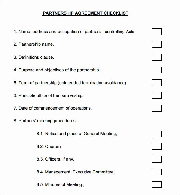 Partnership Agreement Template Word Inspirational Business Partnership Agreement 9 Download Documents In