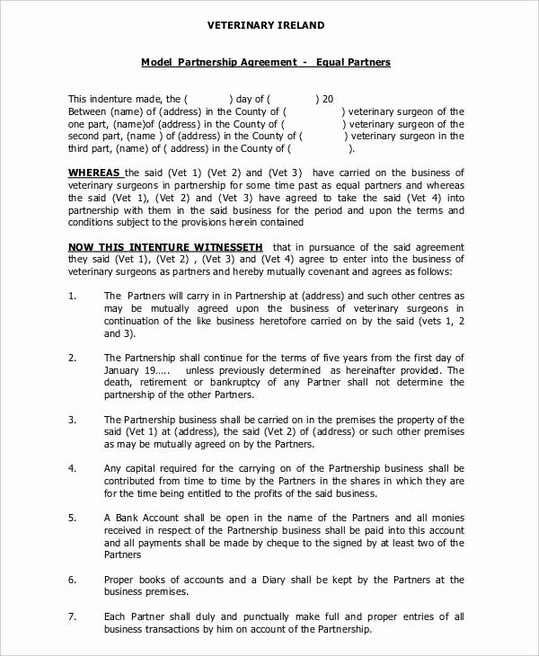 Partnership Agreement Template Word Lovely General Partnership Agreement 9 Free Pdf Word