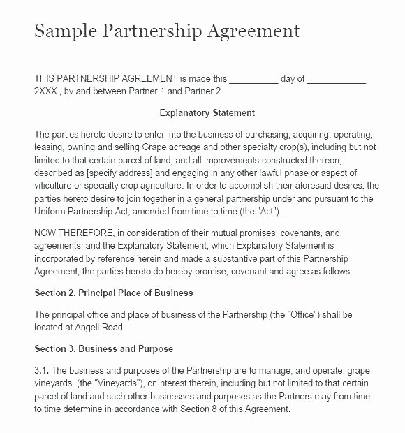 Partnership Agreement Template Word Lovely Partnership Agreement Template Business Partnership
