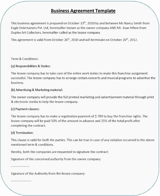 Partnership Agreement Template Word Luxury Business Agreement Templates – 5 Free Word Pdf Samples