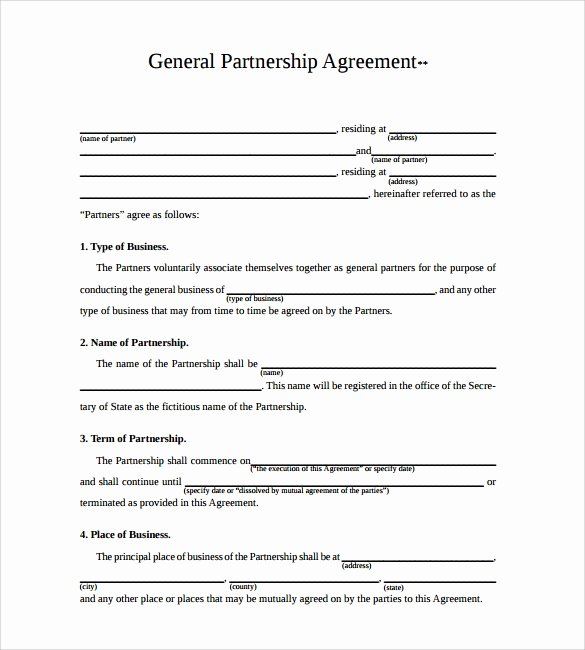 Partnership Agreement Template Word New 11 Sample Business Partnership Agreement Templates to