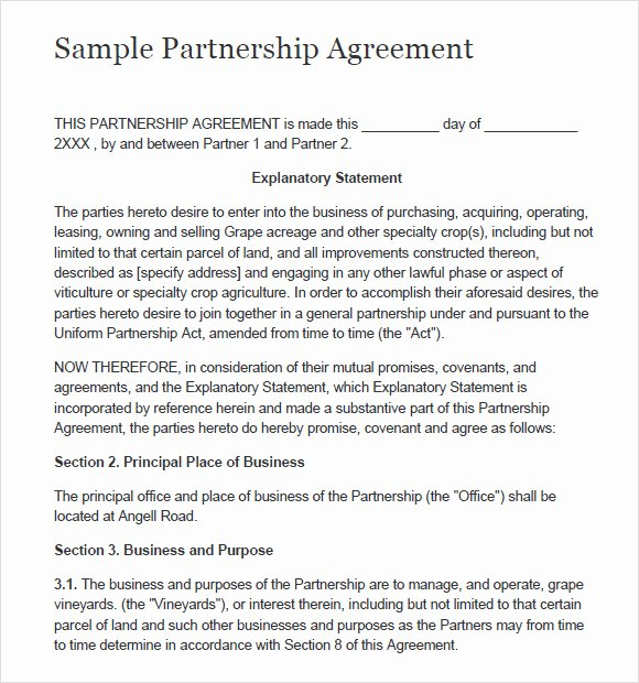 Partnership Agreement Template Word New 8 Sample Partnership Agreements
