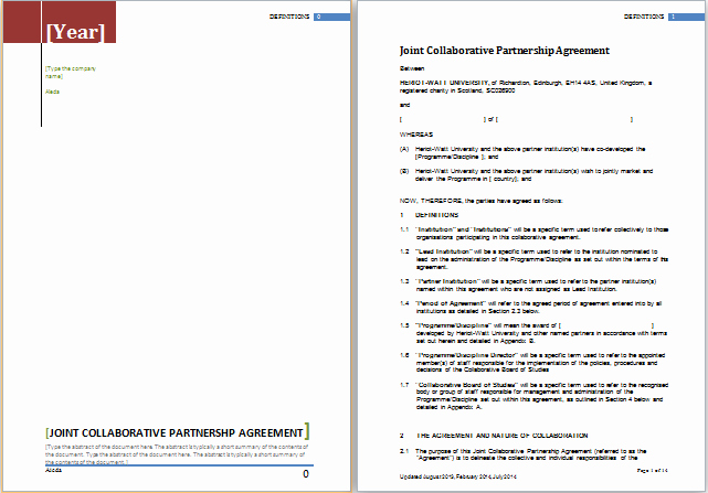 Partnership Agreement Template Word Unique Partnership Agreement Template for Ms Word