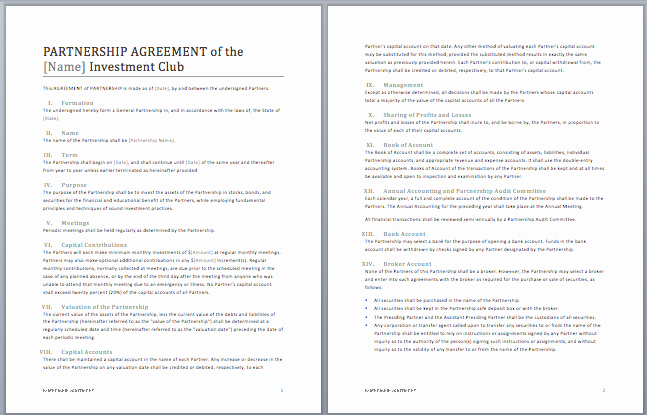 Partnership Agreement Template Word Unique Printable Sample Partnership Agreement Template form