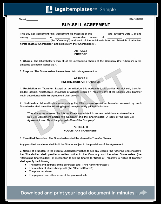Partnership Buyout Agreement Template Lovely Buy Sell Agreement Template