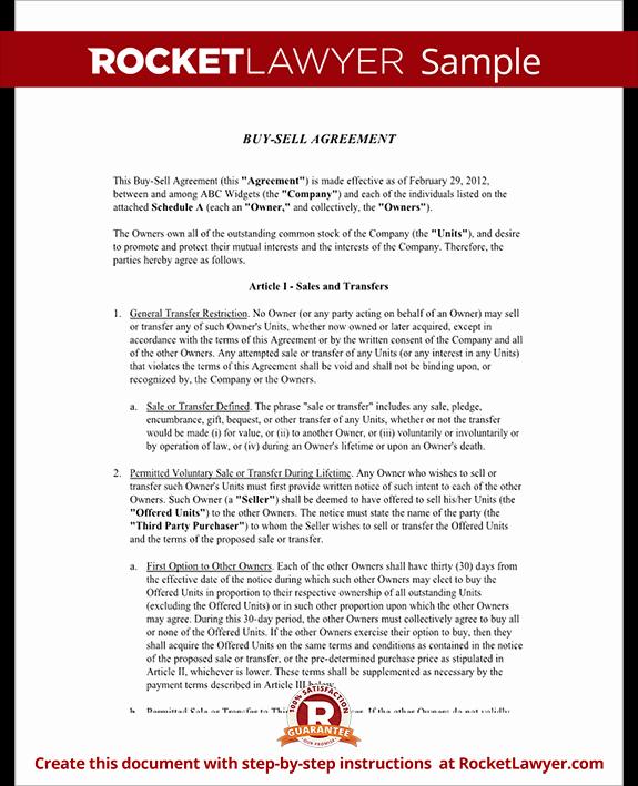 Partnership Buyout Agreement Template Unique Buy Sell Agreement form Sample Buy Sell Agreement Template