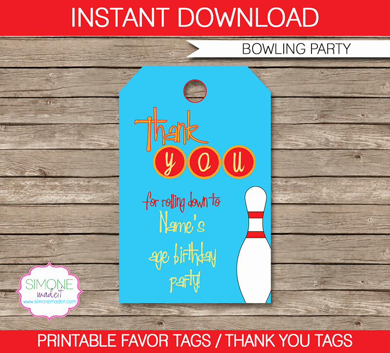 Party Favor Tag Template Awesome Bowling Party Favor Tags Thank You Tags