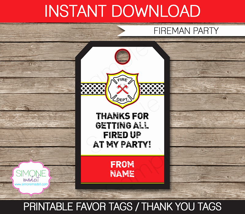 Party Favor Tag Template Awesome Fireman Party Favor Tags Thank You Tags