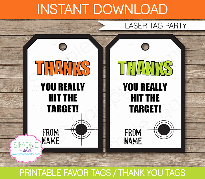 laser tag party favor tag template