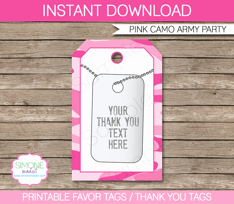Party Favor Tag Template Beautiful Army Pink Camo Party Favor Tags