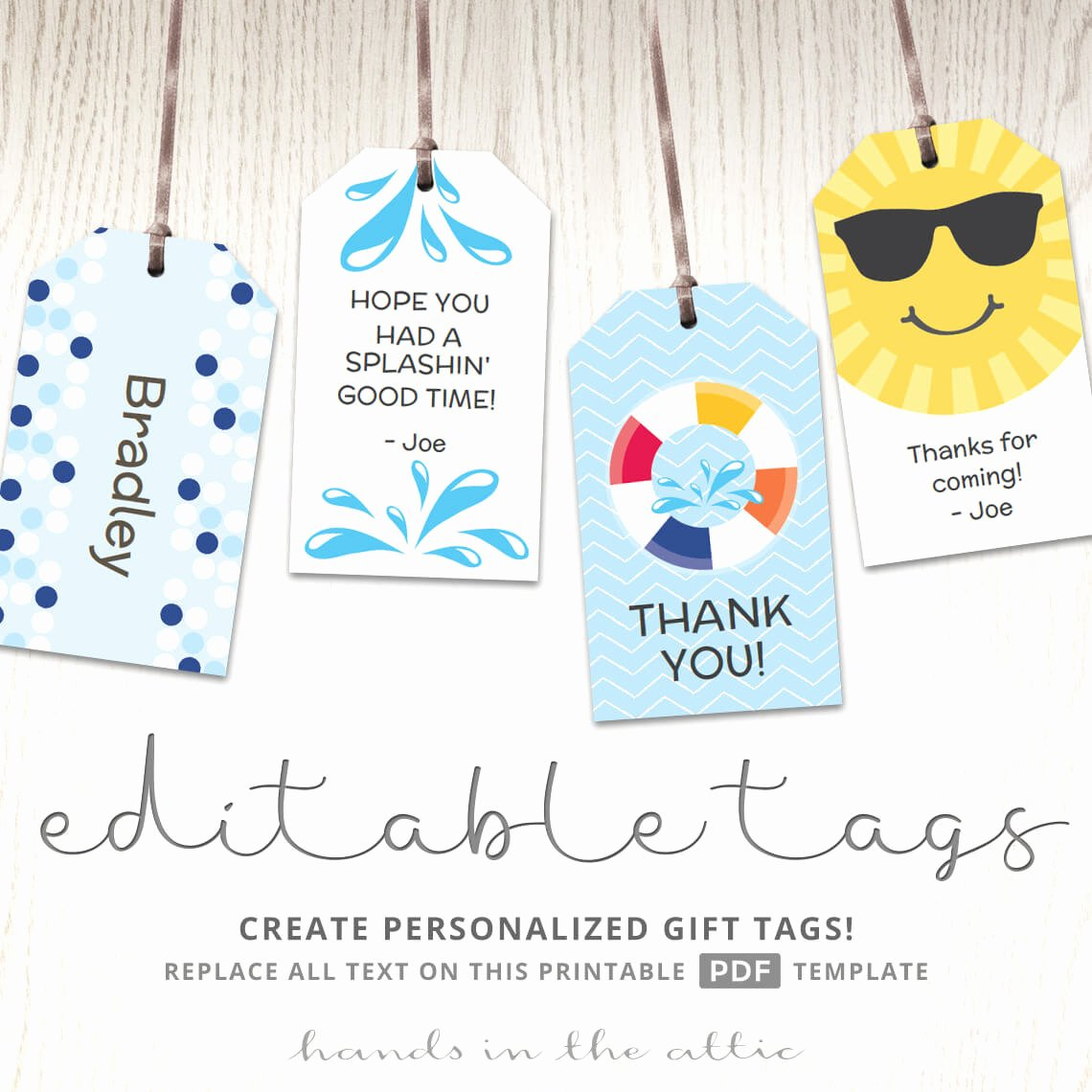 Party Favor Tag Template Beautiful Editable T Tags T Tag Template Favor Tags Pool Party