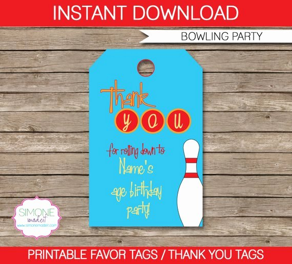 Party Favor Tag Template Best Of Bowling Favor Tags Thank You Tags Birthday Party