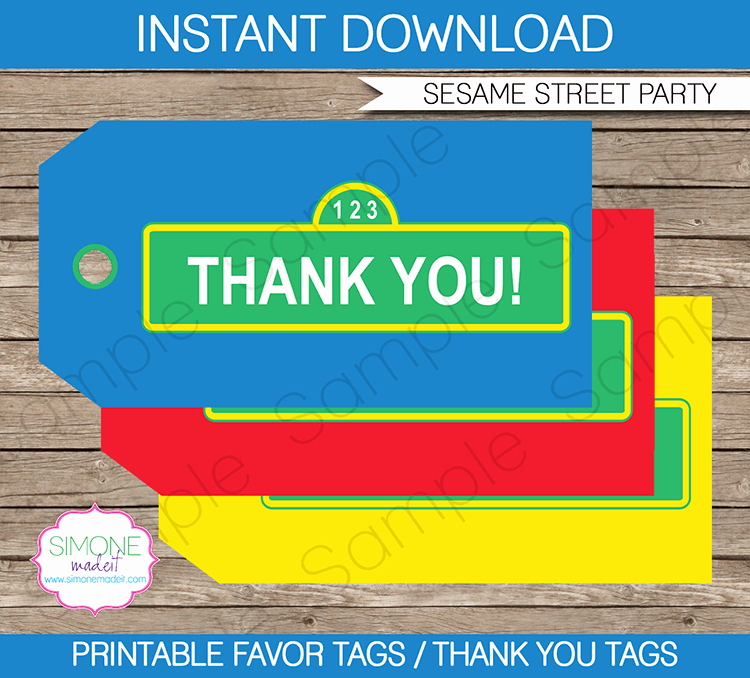 Party Favor Tag Template Elegant Sesame Street Birthday Party Favor Tags