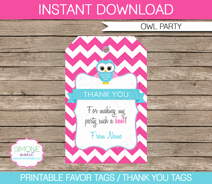 Party Favor Tag Template Fresh Owl Birthday Party Favor Tags Thank You Tags