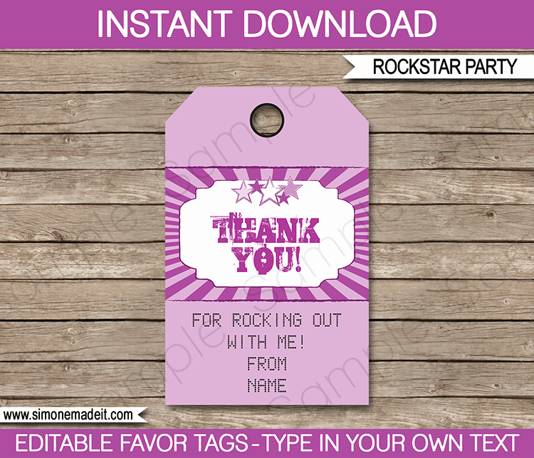 Party Favor Tag Template Fresh Rock Star Party Favor Tags Purple