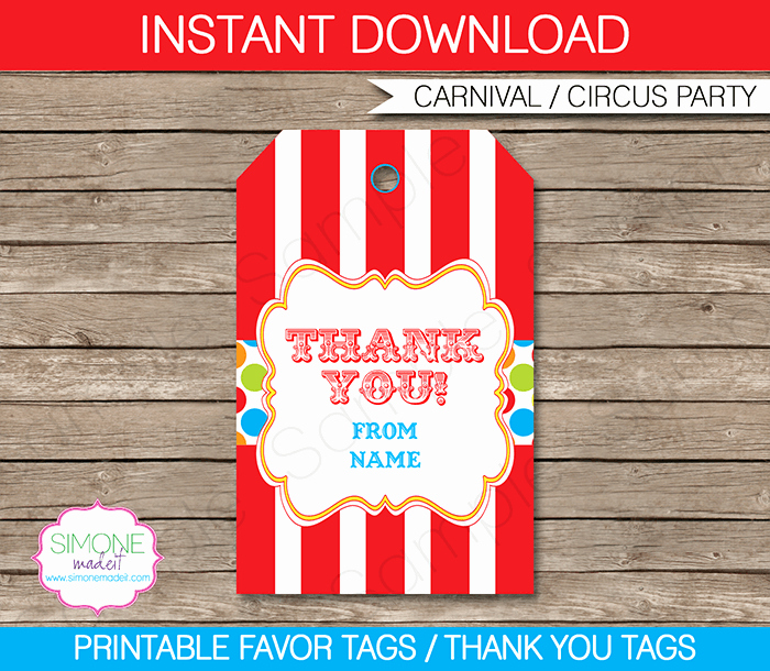 Party Favor Tag Template Inspirational Carnival Party Favor Tags Template