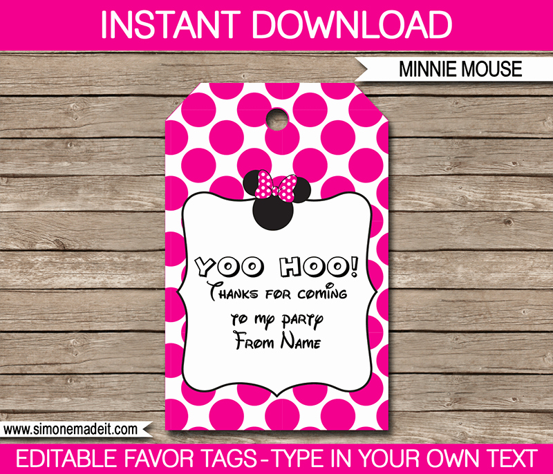Party Favor Tag Template Inspirational Minnie Mouse Party Favor Tags Thank You Tags