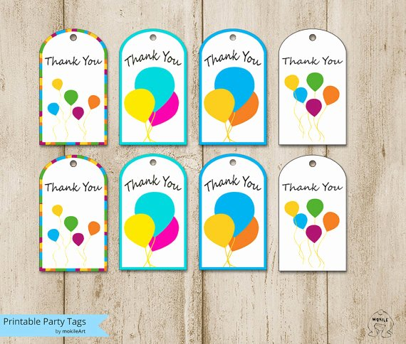 Party Favor Tag Template Luxury Birthday Tags Printable Thank You Tags Templates Printable