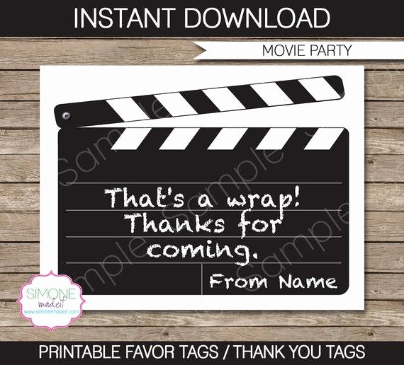 Party Favor Tag Template Luxury Movie Favor Tags Thank You Tags Birthday Party Favors