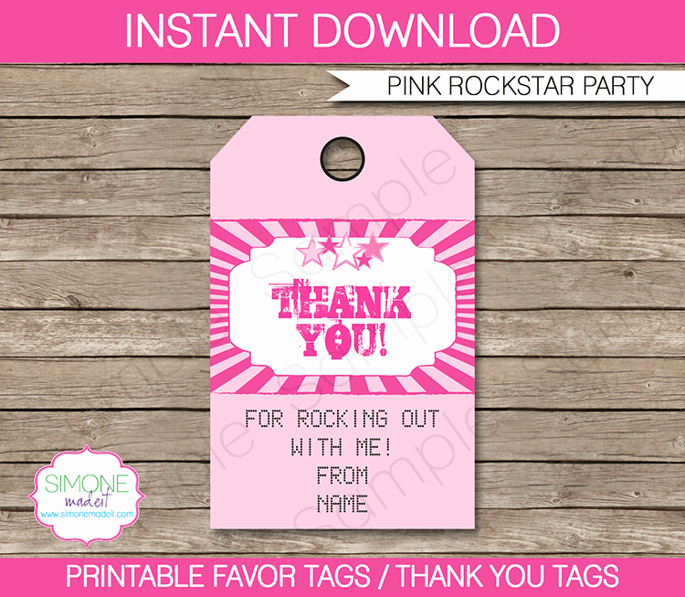 Party Favor Tag Template Luxury Rockstar Party Favor Tags Pink