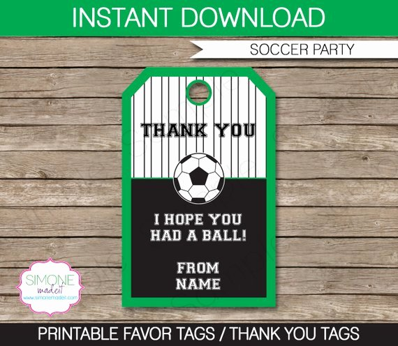 Party Favor Tag Template Luxury soccer Favor Tags Thank You Tags Birthday Party Favors