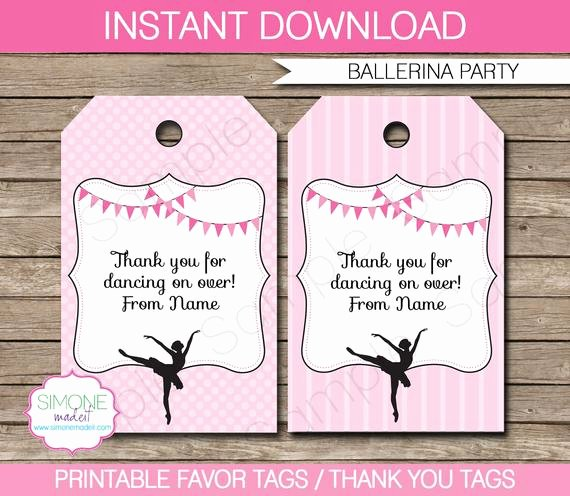 Party Favor Tag Template New Ballerina Favor Tags Thank You Tags Birthday Party