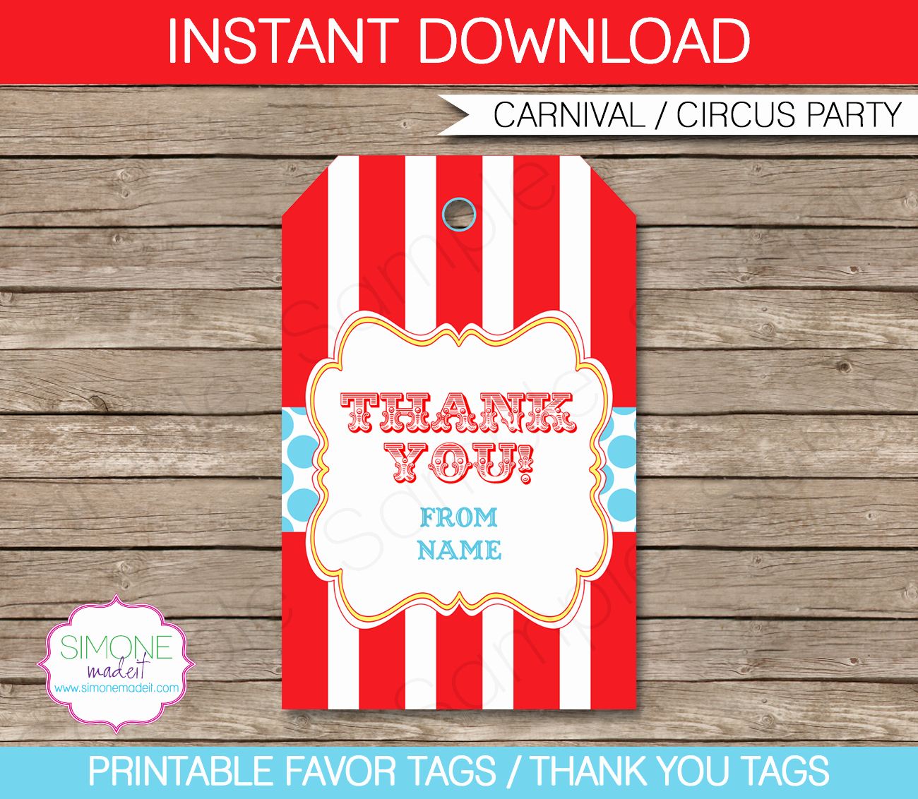 Party Favor Tag Template Unique Circus Party Favor Tags Template Thank You Tags