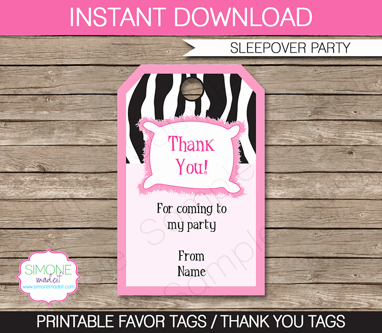 Party Favor Tags Template Awesome Slumber Party Favor Tags Thank You Tags
