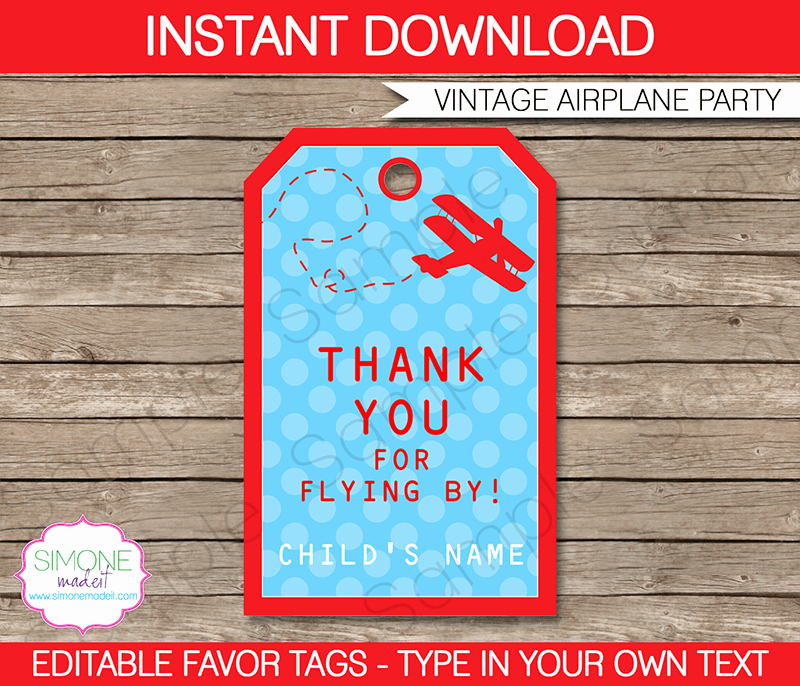 Party Favor Tags Template Beautiful Airplane Birthday Party Favor Tags