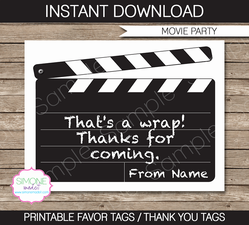 Party Favor Tags Template Best Of Movie Party Favor Tags Thank You Tags