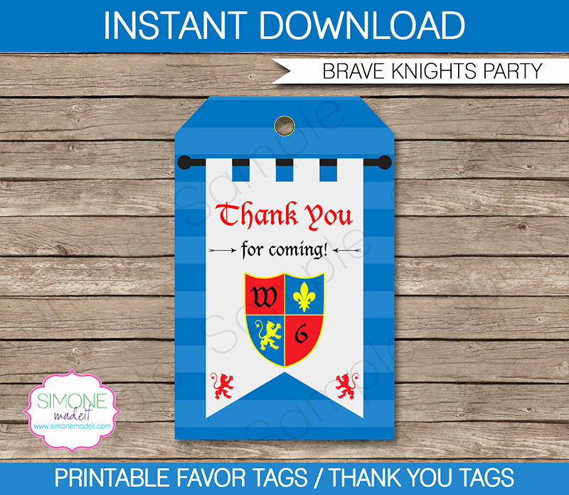 Party Favor Tags Template Elegant Knight Party Favor Tags Thank You Tags