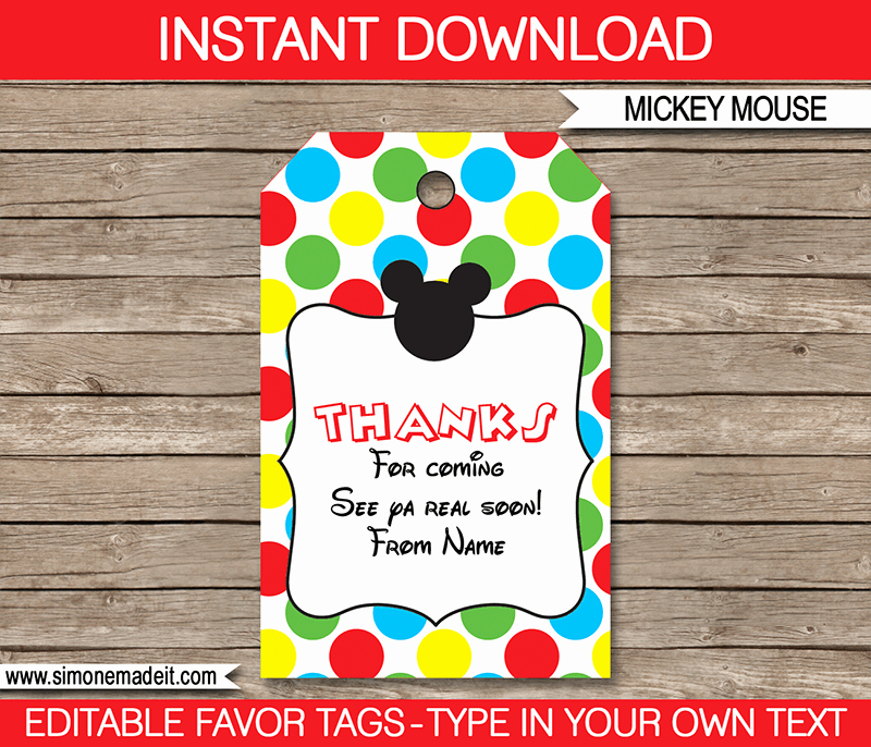 Party Favor Tags Template Fresh Mickey Mouse Party Favor Tags Thank You Tags