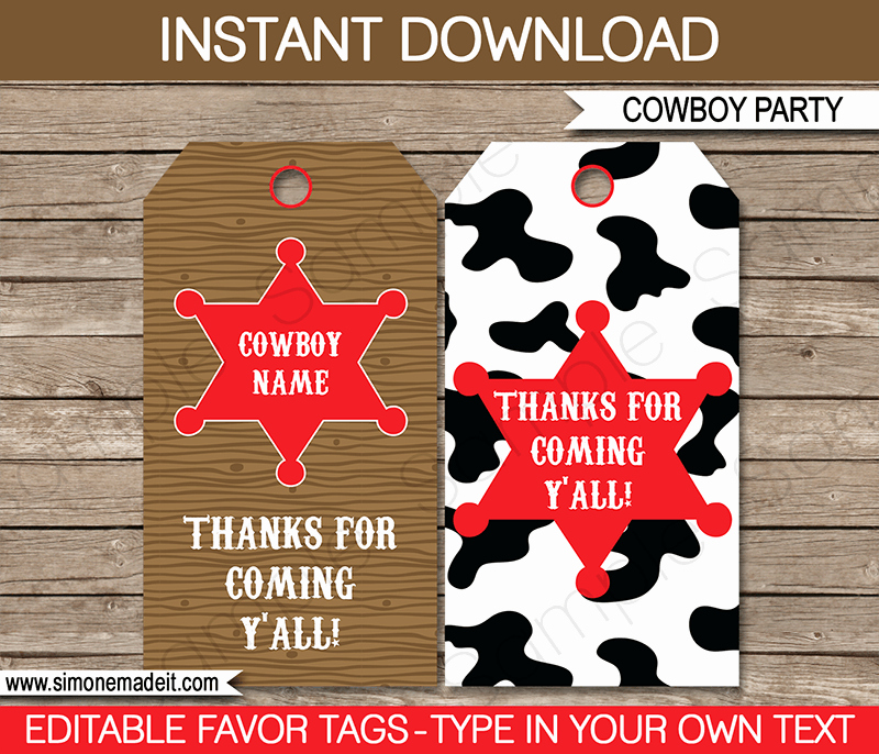 Party Favor Tags Template Inspirational Cowboy Party Favor Tags Thank You Tags