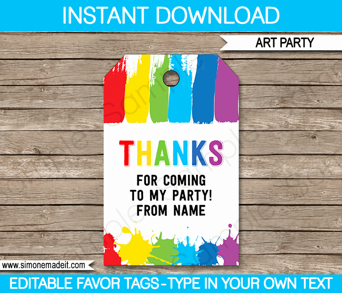 Party Favor Tags Template Luxury Art Party Favor Tags Thank You Tags