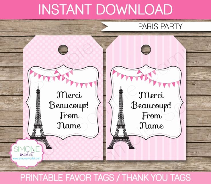 Party Favor Tags Template Luxury Paris Party Favor Tags Template – Pink