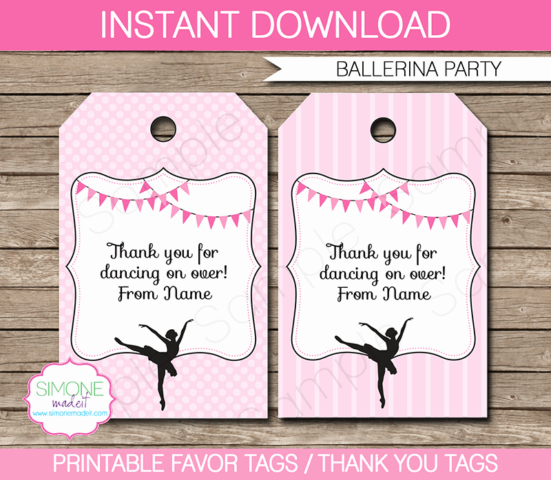 Party Favor Tags Template New Ballerina Party Favor Tags Thank You Tags